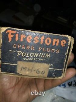 10 Vintage Original Firestone Spark Plugs In Original Cardboard Box