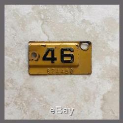 1946 California License Plate Metal Corner Tag Original DMV Clear YOM 1945 (490)