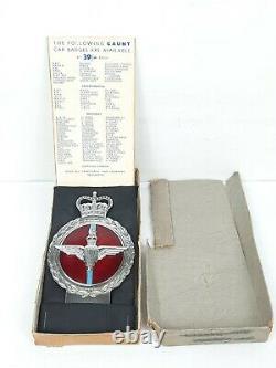 1950s VINTAGE J. R. GAUNT PARACHUTE REGIMENT CAR BADGE withORIGINAL Presentation Box