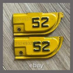 1952 Original California YOM Car Truck License Plate Metal Corner Tags Pair 1951