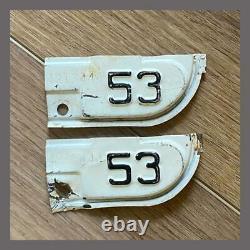 1953 Original California YOM Car Truck License Plate Metal Corner Tags Pair 1951
