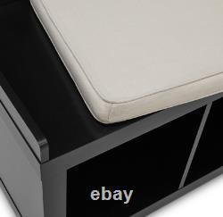 3-Cube Entryway Storage Bench Wood Cushion Sitting Furniture Upholstered Black