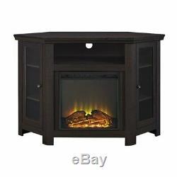 48 inch Wood Corner Fireplace Media TV Stand in Espresso