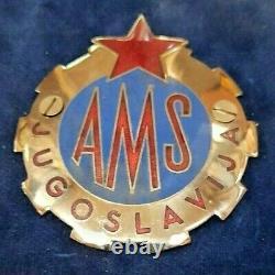 AMS Auto Moto Saves Enamel Car Badge Radiator. In Original Box
