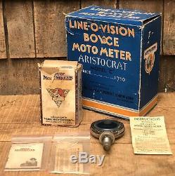 Antique 1920s LINE O VISION BOYCE MOTOR METER Aristocrat Model C W Original Box