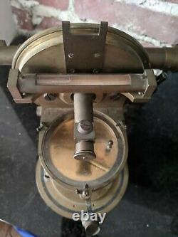 Antique Early Theodolite /Transit, A. Hurlimann, Paris, Brass, Glass with Box