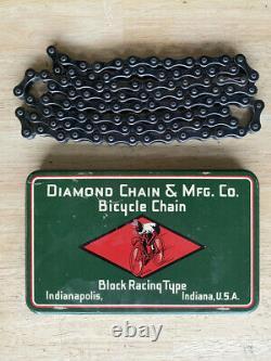 Antique Racing Bicycle Diamond Block Chain in Original PRe War Tin Box