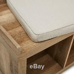 Bench Storage Weathered 3-Cube Organizer Entryway Wood Furniture Upholstered