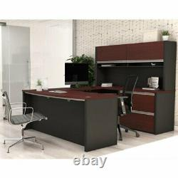 Bestar Connexion U-Shape Home Office Set with 1 Oversized Pedestal in Bordeau