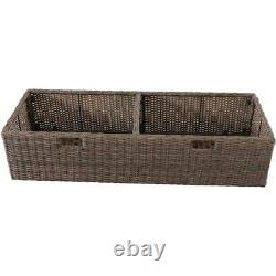 Better Homes Gardens Camrose Farmhouse Outdoor Bench With Wicker Storage Box
