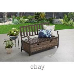 Camrose Farmhouse Outdoor Patio Bench with Wicker Storage Box Porch Entryway Brown