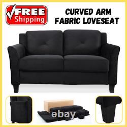 Curved Arm Loveseat Fabric Microfiber Upholstered Hardwood Frame Fabric Grey