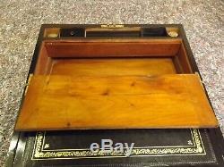 Early Victorian Sea Captains Walnut Writing Slope Box