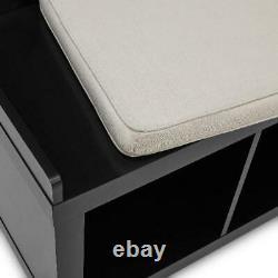 Entryway Storage Solid Black 3-Cube Bench Organizer Home Shoe Shelf Furniture US