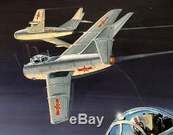 F86-f Sabre Jet The Huff Original Model Box Art Studio Painting Awesome
