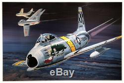 F86-f Sabre Jet The Huff Original Model Box Top Art Studio Painting Awesome