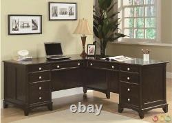 Garson L Shaped Corner Office Desk withLateral File & Bookcase in Dark wood Finish