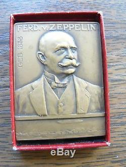 Graf Ferdinand von Zeppelin Dirigible Bronze Memorable Plaque / Original Old Box