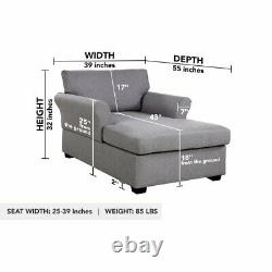 Grey Chaise Lounge for Living Room, Single Sofa Chair in Linen Fabric Upholstery
