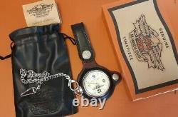 Harley-Davidson 95th Anniversary Pocket Watch+Leather Fob+Bag in original box