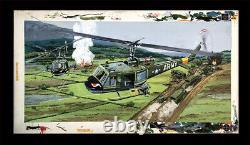 Huey Armed Combat Chopper Original Monogram Models Box Top Art Studio Painting