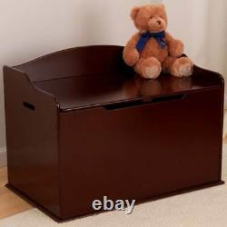 KidKraft Austin Wooden Toy Organizer Storage Chest Box and Sitting Bench, Cherry