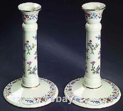 Lenox L'Chaim Floral Candlesticks Pair Sabbath Judaic Hebrew Jewish 8 Gift NEW
