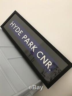 London Routemaster Bus Blind Sign HYDE PARK CORNER Original Vintage Framed