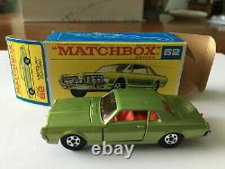 Matchbox Transitional SF #62 Mercury Cougar Original Rare No Script F Box Lot 45