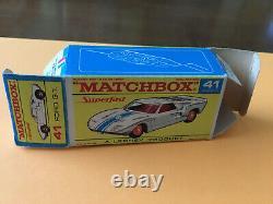 Matchbox Transitional Superfast #41 Ford G. T. Original Red Script F Box Lot 22