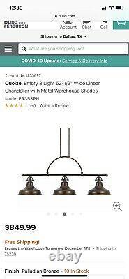 NEW IN Original Man box. QUOIZEL 3 light chandelier, Elsewhere- $849.99