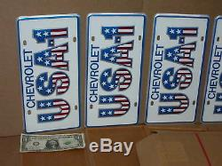 ORIGINAL Box of USA1 License Tags MADE FOR CHEVY DEALER To Use On Showroom Cars