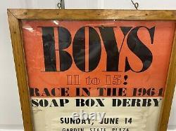 Original 1964 Soap Box Derby Poster Garden State Plaza Paramus NJ Herald News