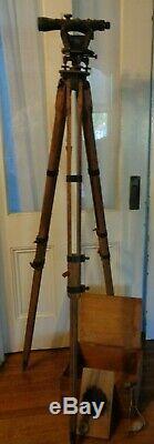 Original Antique Vtg K&E / Surveyors Transit Land Measuring Tripod Scope Box