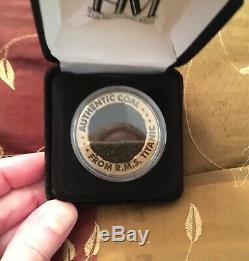 Original Titanic Coal Rare Velvet Box Recovered 2000 Expedition White Star Line