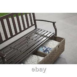 Outdoor Bench Farmhouse Patio Furniture Wicker Storage Box Weather Resistant