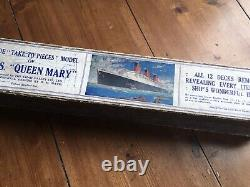 RARE Antique RMS Queen Mary Model Ship Toy Boat Chad Valley Original Box