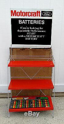 Rare 70's Original Ford Motorcraft Battery Display Rack Sign & Box Wow