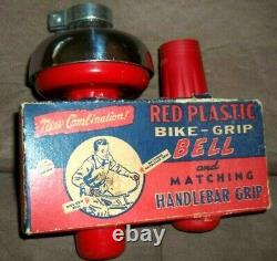 Rare Vintage 60s Nos Original Box Red Handlebar Bicycle Grips & Bell Collectible