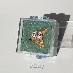 TWA Million Miles Flight Attendant 10K Gold Filled Pin original L. G. Balfour box