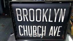 True Antique NYC Subway Roll Sign in original box. Complete! RARE. 27 names