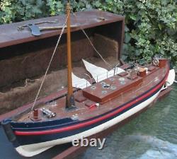VIDEO 1920 Bassett Lowke clockwork lifeboat original box key bing
