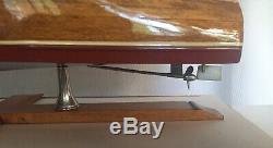 VTG Speed Boat 18 Wood Model Assembled By Authentic Models #ASA024 Original Box