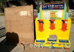 Vintage 1930s-40's C & D STORE BATTERY DISPLAY with ORIGINAL BOX & Paperwork