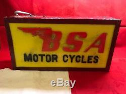 Vintage 1960's Advertising Light Box BSA Motorcycles Perspex & Metal 45x24x10 Cm