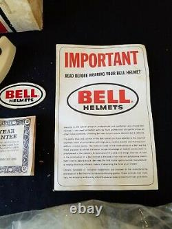 Vintage 1973 BELL RT White Motorcycle Helmet Original BOX ONLY& Papers With Visor