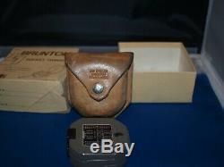 Vintage Brunton Pocket Transit Compass Leather Case Original Box Excellent