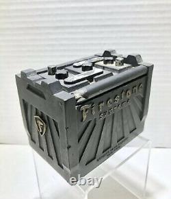 Vintage Firestone Hard Rubber Battery Cigarette Case Box Automobile Advertising