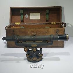 Vintage Lietz 18 Surveyor's Transit Dumpy Level Original Wood Box BRASS BRONZE