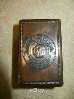 Vintage Original Hendee Mfg. Co. Indian Motorcyles Copper Pocket Match Box Safe